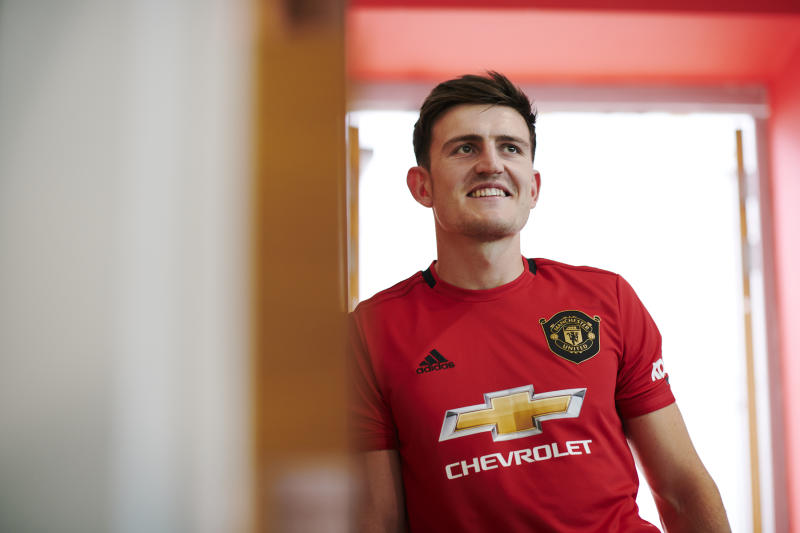 MANCHESTER, ENGLAND - AUGUST 04: (EXCLUSIVE COVERAGE) Harry Maguire of Manchester United walks around the Aon Training Complex after signing for the club at Aon Training Complex on August 04, 2019 in Manchester, England. (Photo by Manchester United/Manchester United via Getty Images)