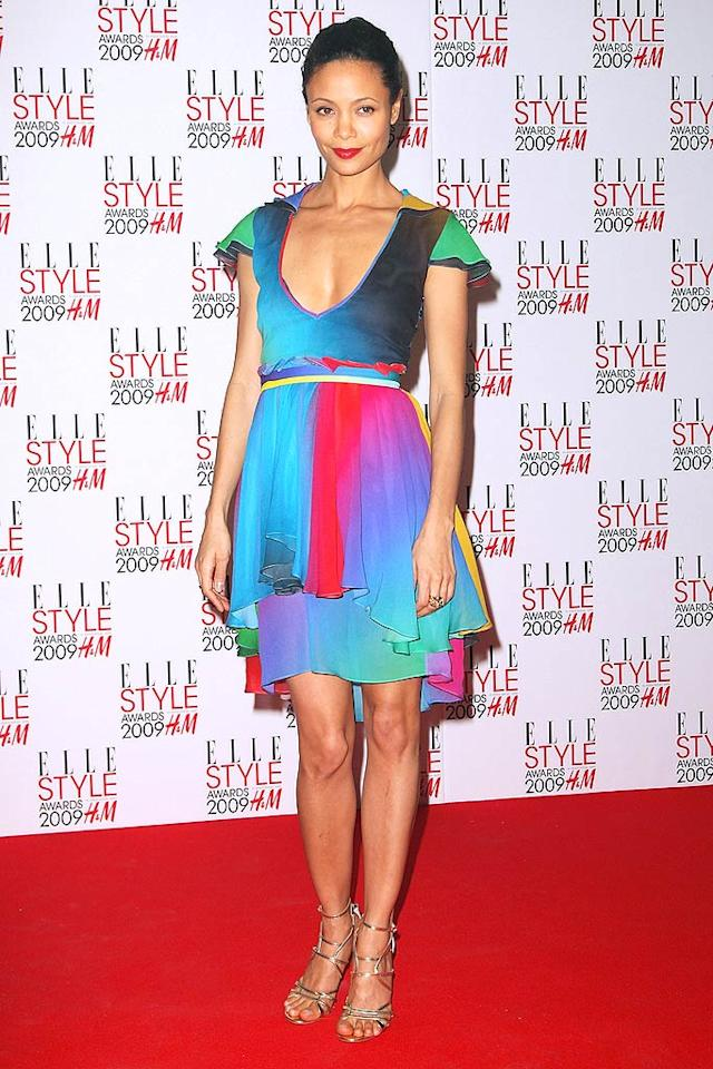 "Thandie Newton looked marvelous in a Jonathan Saunders multi-colored masterpiece and metallic sandals. Dave Hogan/<a href=""http://www.gettyimages.com/"" target=""new"">GettyImages.com</a> - February 9, 2009"