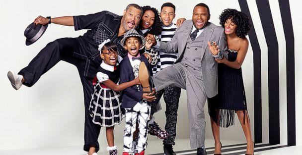 PHOTO: ABC's 'black-ish' stars in 2015, Marsai Martin, Miles Brown, Yara Shahidi, Marcus Scribner, Anthony Anderson, Tracee Ellis Ross, and special guest star, Laurence Fishburne. (Bob D'Amico/ABC)