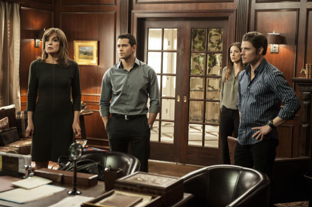 "Linda Gray, Jesse Metcalfe, Julie Gonzalo and Josh Henderson in the ""Dallas"" Season 2 episode, ""Legacies."""