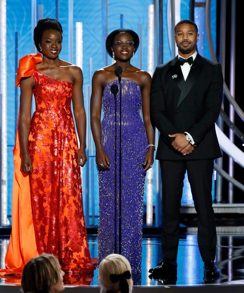 BEVERLY HILLS, CALIFORNIA – JANUARY 06: In this handout photo provided by NBCUniversal, Presenters Chadwick Boseman, Danai Gurira, Lupita Nyong'o and Michael B. Jordan speak onstage during the 76th Annual Golden Globe Awards at The Beverly Hilton Hotel on January 06, 2019 in Beverly Hills, California. (Photo by Paul Drinkwater/NBCUniversal via Getty Images)
