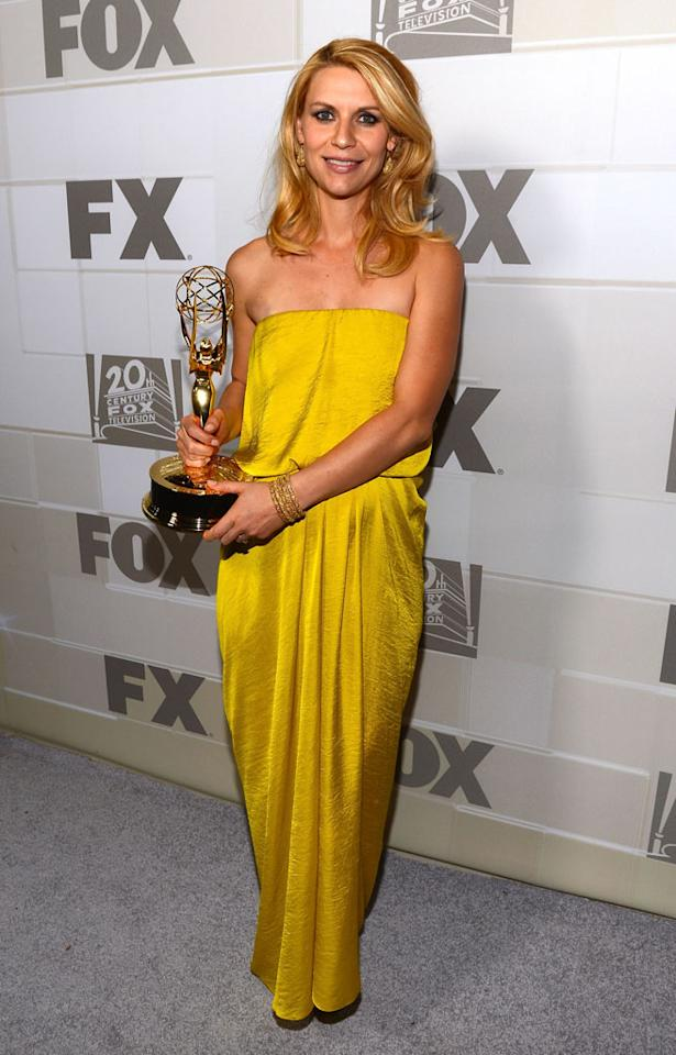 Claire Danes arrives at the Fox post Emmy party at Soleto on September 23, 2012 in Los Angeles, California.