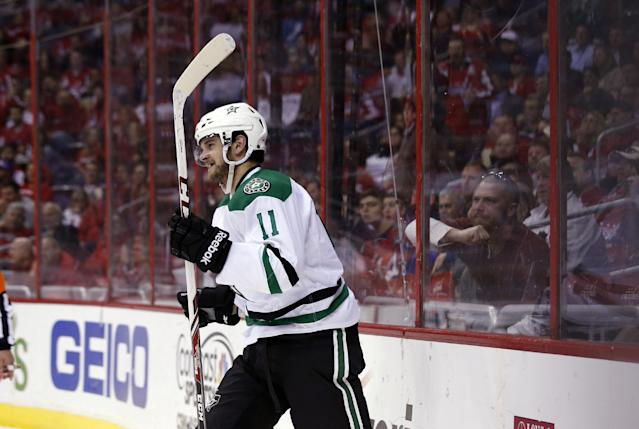Dallas Stars center Dustin Jeffrey (11) celebrate his goal in the second period of an NHL hockey game against the Washington Capitals, Tuesday, April 1, 2014, in Washington. (AP Photo/Alex Brandon)