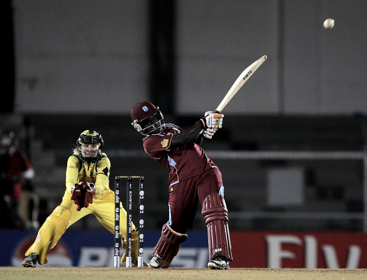 MUMBAI, INDIA - FEBRUARY 17:  Deandra Dottin of West Indies batting during the final between Australia and West Indies of the Women's World Cup India 2013 played at the Cricket Club of India ground on February 17, 2013 in Mumbai, India. (Photo by Graham Crouch/ICC via Getty Images)