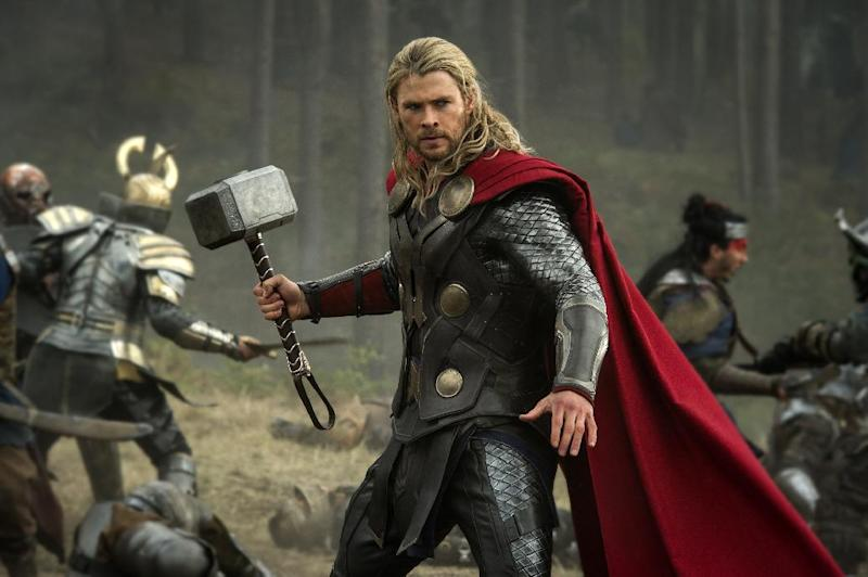 """This publicity photo released by Walt Disney Studios and Marvel shows Chris Hemsworth in a scene from """"Thor: The Dark World."""" The movie releases in the US on Friday, Nov. 8. 2013. (AP Photo/Walt Disney Studios/Marvel, Jay Maidment)"""