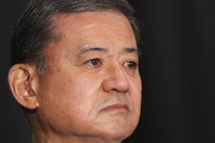 Veterans Affairs Secretary Eric Shinseki is seated before speaking at a meeting of the National Coalition for Homeless Veterans, Friday, May 30, 2014, in Washington. The president said Friday that Shinseki is resigning amid widespread troubles with veterans' health care. (AP Photo/Charles Dharapak)