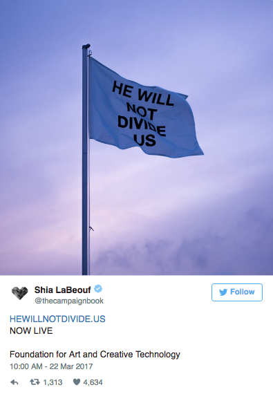 """Shia LaBeouf Says the U.S. Is """"Simply Not Safe"""" for His Anti-Trump Exhibit"""