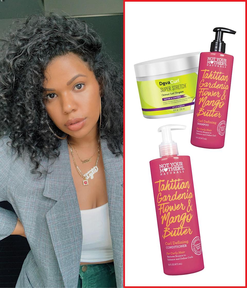 """I'm currently obsessed with <a href=""""https://shop-links.co/1695394065414428619"""" rel=""""nofollow noopener"""" target=""""_blank"""" data-ylk=""""slk:Not Your Mother's Naturals Tahitian Gardenia Flower & Mango Butter Curl Defining Shampoo"""" class=""""link rapid-noclick-resp"""">Not Your Mother's Naturals Tahitian Gardenia Flower & Mango Butter Curl Defining Shampoo</a> and <a href=""""https://shop-links.co/1695394038198704656"""" rel=""""nofollow noopener"""" target=""""_blank"""" data-ylk=""""slk:Conditioner"""" class=""""link rapid-noclick-resp"""">Conditioner</a> because it helps with moisture and definition when I style after washing. Not only does it cut down my routine, but it smells amazing and is super affordable! If I have extra styling time on my hands, I also cocktail <a href=""""https://shop-links.co/1681440238744430011"""" rel=""""nofollow noopener"""" target=""""_blank"""" data-ylk=""""slk:Shea Moisture Curl Enhancing Smoothie"""" class=""""link rapid-noclick-resp"""">Shea Moisture Curl Enhancing Smoothie</a> and <a href=""""https://shop-links.co/1681440343865259101"""" rel=""""nofollow noopener"""" target=""""_blank"""" data-ylk=""""slk:DevaCurl's Super Stretch"""" class=""""link rapid-noclick-resp"""">DevaCurl's Super Stretch</a>, and starting from my roots, brush all products through my hair using the <a href=""""https://amzn.to/34p6Nfe"""" rel=""""nofollow noopener"""" target=""""_blank"""" data-ylk=""""slk:Denman"""" class=""""link rapid-noclick-resp"""">Denman</a> brush. —<a href=""""https://www.instagram.com/tylauren/?hl=en"""" rel=""""nofollow noopener"""" target=""""_blank"""" data-ylk=""""slk:Tyla-Lauren Gilmore"""" class=""""link rapid-noclick-resp""""><em>Tyla-Lauren Gilmore</em></a><em>, influencer</em> $9, Ulta. <a href=""""https://shop-links.co/1695548304655245355"""" rel=""""nofollow noopener"""" target=""""_blank"""" data-ylk=""""slk:Get it now!"""" class=""""link rapid-noclick-resp"""">Get it now!</a>"""