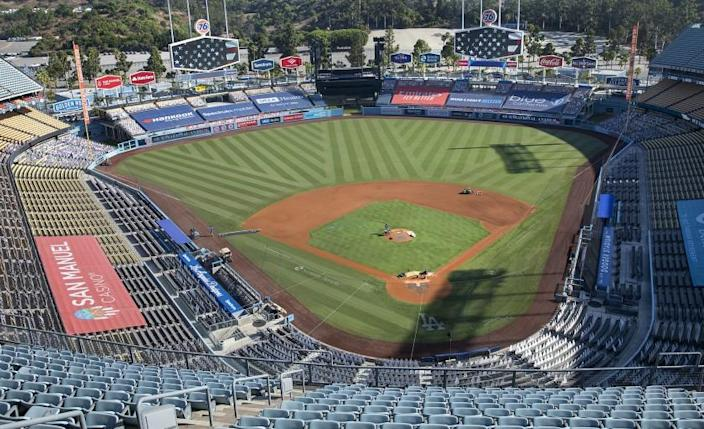 LOS ANGELES, CA - SEPTEMBER 24, 2020: Overall, shows the view of Dodger Stadium from the Top Deck section, where the Dodger Stadium Vote Center will be located. The vote center will be open for early voting for the general election, from October 30, 2020 to November 2, 2020, from 10am to 7pm and on Election Day from 7am to 8pm.. (Mel Melcon / Los Angeles Times)