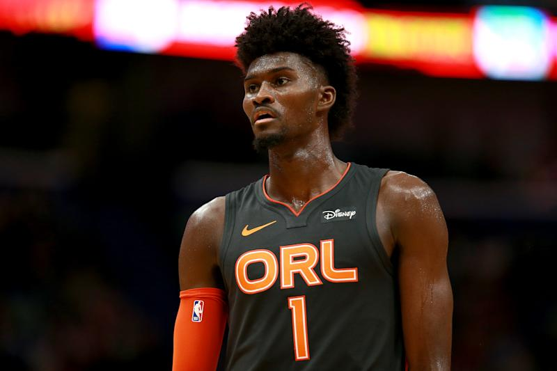 NEW ORLEANS, LOUISIANA - DECEMBER 15: Jonathan Isaac #1 of the Orlando Magic stands on the court during a NBA game against the New Orleans Pelicans at Smoothie King Center on December 15, 2019 in New Orleans, Louisiana. NOTE TO USER: User expressly acknowledges and agrees that, by downloading and or using this photograph, User is consenting to the terms and conditions of the Getty Images License Agreement. (Photo by Sean Gardner/Getty Images)