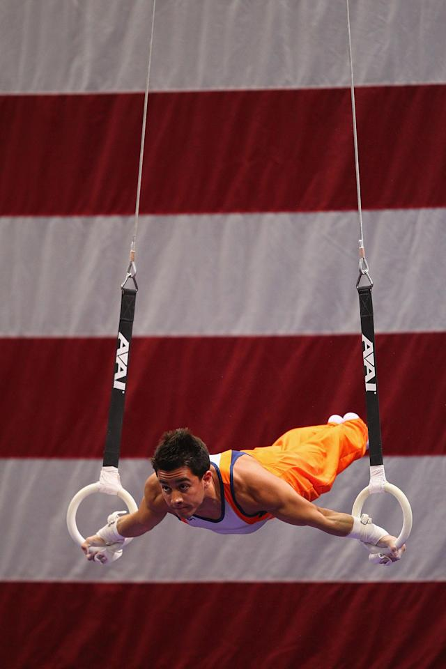 ST. LOUIS, MO - JUNE 7: C.J. Maestas competes on the rings during the Senior Men's competition on day one of the Visa Championships at Chaifetz Arena on June 7, 2012 in St. Louis, Missouri. (Photo by Dilip Vishwanat/Getty Images)