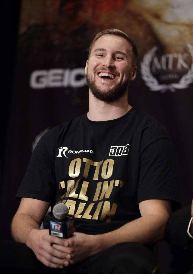 Otto Wallin, of Sweden, laughs during a news conference Wednesday, Sept. 11, 2019, in Las Vegas. Wallin will face Tyson Fury in a heavyweight boxing match Saturday. (AP Photo/Isaac Brekken)
