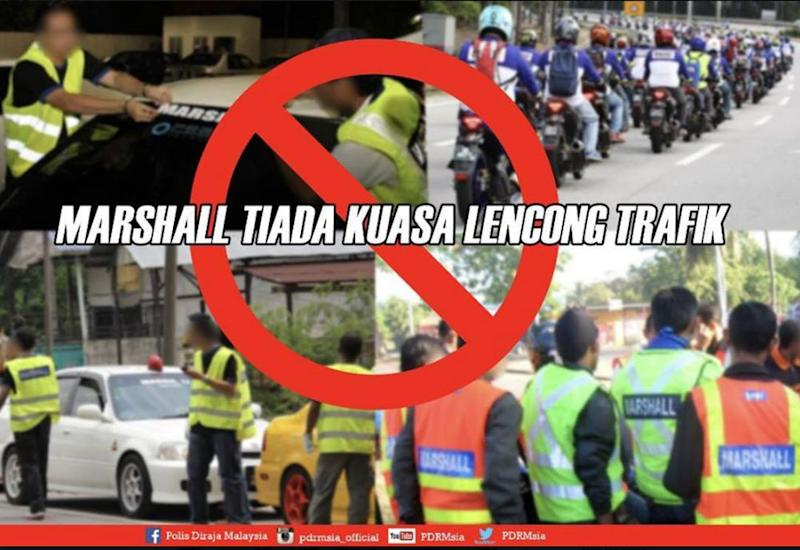 The Royal Malaysia Police warned members of the public acting as road marshals that they have no legal authority to direct other road users. — Picture courtesy of Facebook/Polis Diraja Malaysia