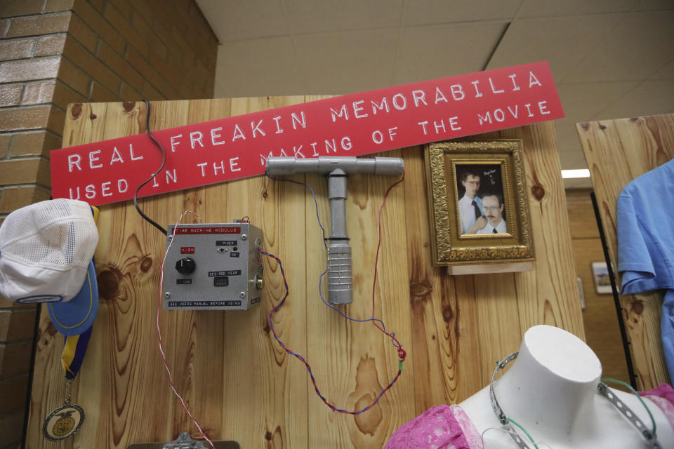 """In this May 3, 2019, photo, """"Napoleon Dynamite"""" memorabilia is shown during a 15th anniversary celebration of the cult classic comedy, in Salt Lake City. (AP Photo/Rick Bowmer)"""