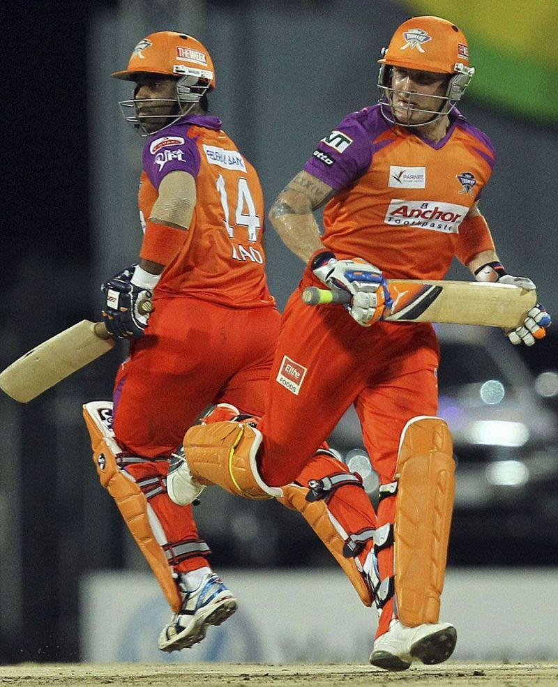 Gnaneswaran Rao running along with Brendon McCullum