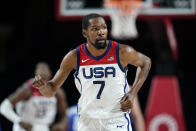 United States's Kevin Durant (7) runs up court after making a 3-point basket during a men's basketball preliminary round game against the Czech Republic at the 2020 Summer Olympics, Saturday, July 31, 2021, in Saitama, Japan. (AP Photo/Charlie Neibergall)
