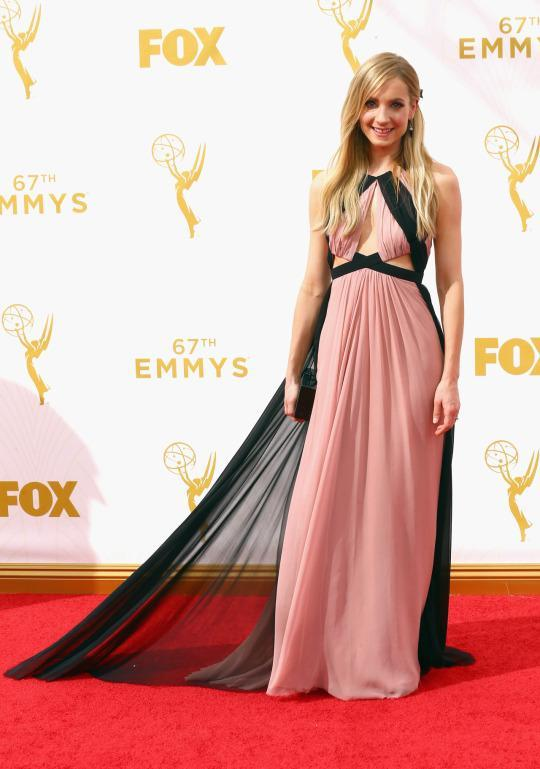 <p>Always a winner, Joanne Froggatt opted for something a bit more futuristic in a J. Mendel dress. The blush color was pretty and then accented in black, which is an off pairing but still somehow worked.<br></p>