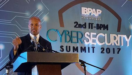 Lamont Siller, the legal attache at the U.S. embassy in the Philippines speaks during a cyber security forum in Manila