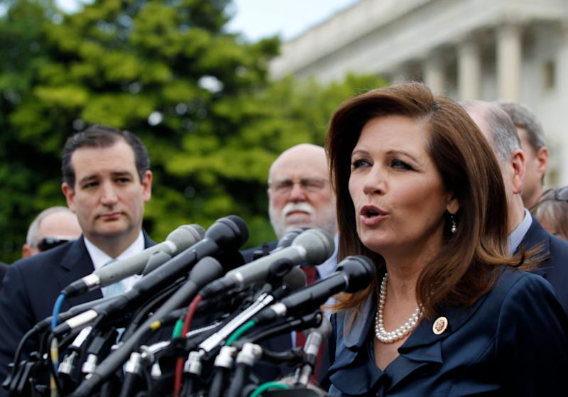 """Bachmann appeared happy to further whispers of impeachment, telling a crowd at a tea party rally in May that she's asked every weekend: <a href=""""http://www.huffingtonpost.com/2013/05/16/michele-bachmann-impeach-obama_n_3285464.html"""" target=""""_blank"""">""""Why aren't you impeaching the president?""""</a>"""