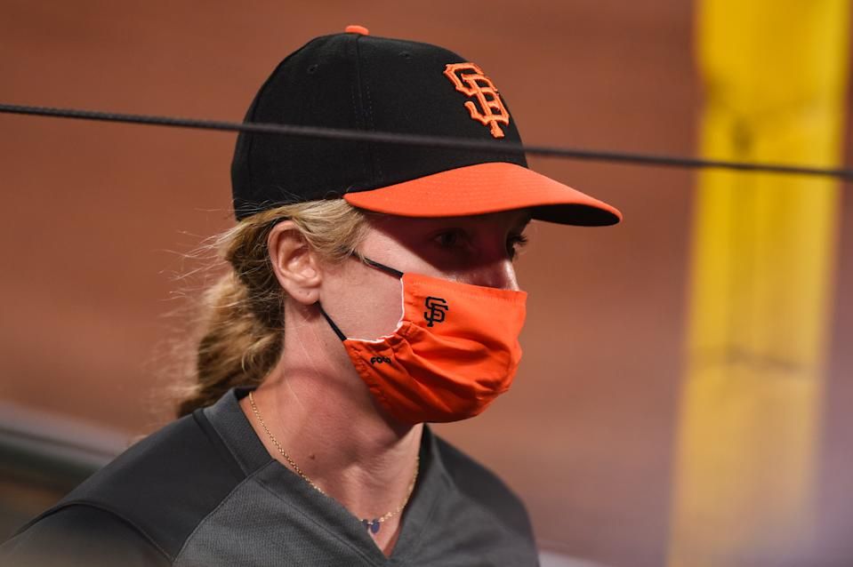 SAN FRANCISCO, CA - AUGUST 01: San Francisco Giants assistant coach Alyssa Nakken during the Major League Baseball game between the Texas Rangers and the San Francisco Giants at Oracle Park on August 1, 2020 in San Francisco, CA. (Photo by Cody Glenn/Icon Sportswire via Getty Images)