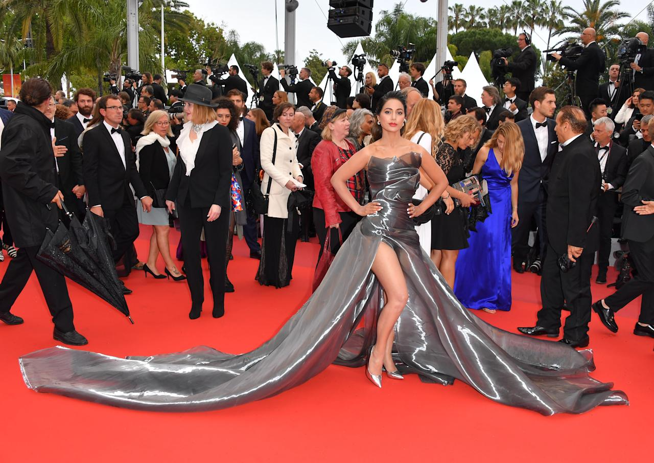 """CANNES, FRANCE - MAY 18: Hina Khan attends the screening of """"Les Plus Belles Annees D'Une Vie"""" during the 72nd annual Cannes Film Festival on May 18, 2019 in Cannes, France. (Photo by George Pimentel/WireImage)"""