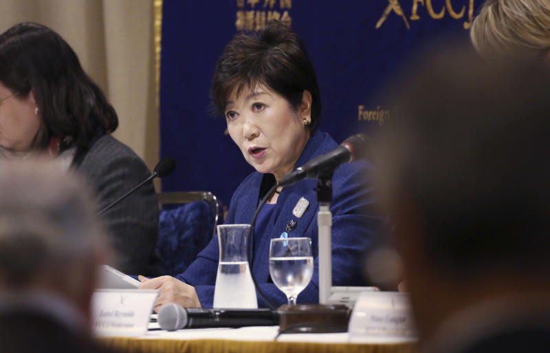 Governor of Tokyo Yuriko Koike speaks during a press conference in Tokyo, Monday, Feb. 18, 2019. Gov. Koike has declined to weigh in on the future Japanese Olympic Committee President Tsunekazu Takeda. Takeda is being investigated for his part in a bribery scandal that French investigators believe may have helped Tokyo win the 2020 Olympics in a vote by the International Olympic Committee.(AP Photo/Koji Sasahara)