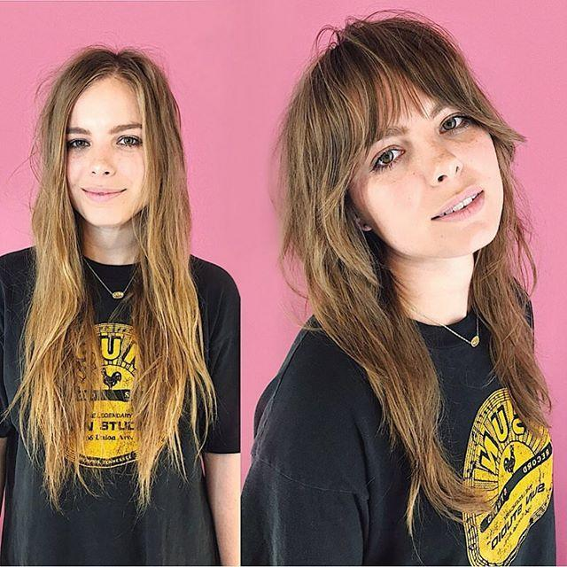 """<p>While bangs may seem counterintuitive, they actually create the illusion of thicker hair. This thick bangs transformation is a perfect example.</p><p><a href=""""https://www.instagram.com/p/BygqqDzng25/"""" rel=""""nofollow noopener"""" target=""""_blank"""" data-ylk=""""slk:See the original post on Instagram"""" class=""""link rapid-noclick-resp"""">See the original post on Instagram</a></p>"""