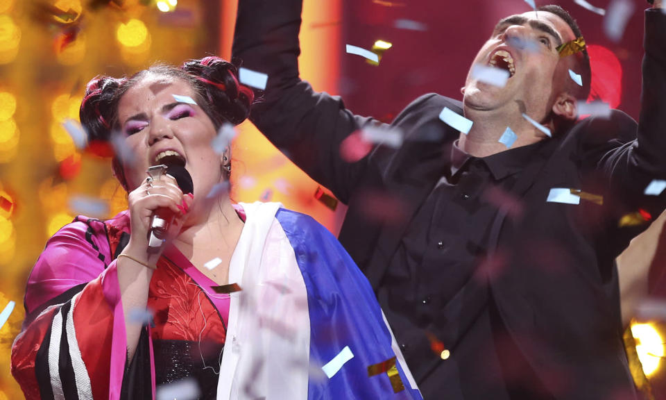 <p>Israel's Netta warbled away with the prize in Lisbon, while the UK's SuRie showed immense poise when an idiot stormed the stage and stole her mic mid-performance. Unfortunately, she still ended up 24th out of 26 (gee thanks, Brexit!).<br>Photo: AP </p>