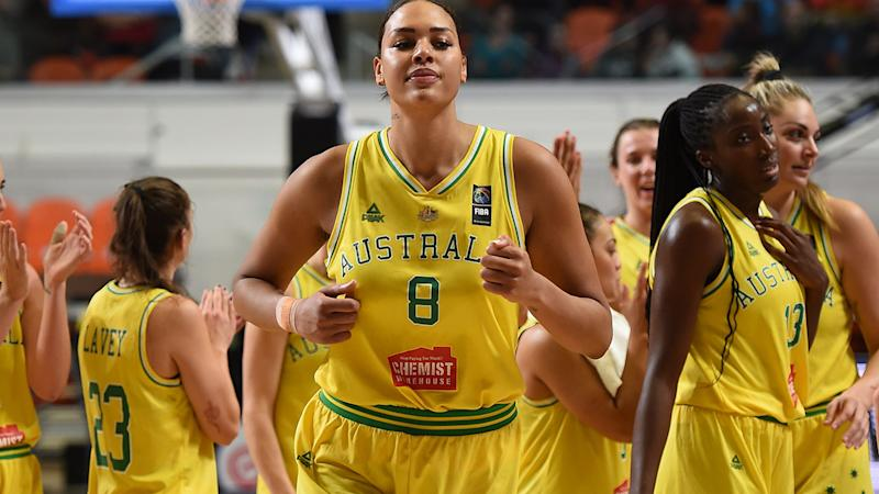 Liz Cambage, pictured here in action for Australia against Puerto during the Olympic Qualifying Tournament.