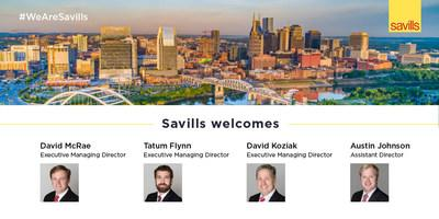 Global commercial real estate firm Savills launches its newest office in Nashville, Tenn., and welcomes David McRae, David Koziak and Tatum Flynn as executive managing directors, Austin Johnson assistant director and Michelle Schreiber as the office's operations manager. With 32 offices and more than 800 employees in North America, Savills provides local and international clients with a comprehensive suite of tenant-focused services and solutions that drive productivity and profitability.
