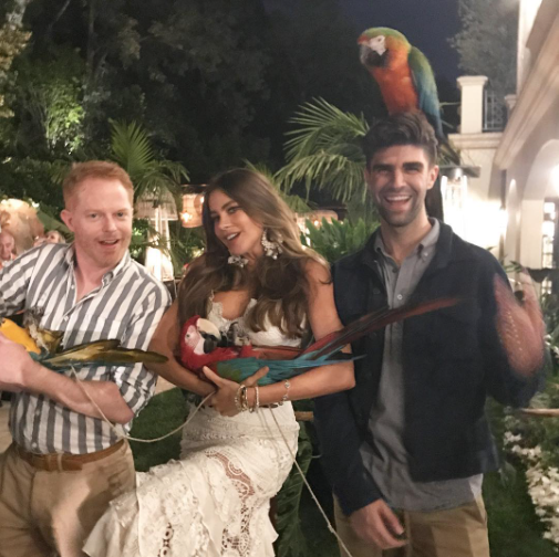 "<p>Vergara, Jesse Tyler Ferguson, and Ferguson's husband, Justin Mikita, also had a photo op with the macaws. ""Right before a beautiful parrot pooped on @sofiavergara,"" Ferguson revealed/ (Photo: <a href=""https://www.instagram.com/p/BUrwh8iAEOa/"" rel=""nofollow noopener"" target=""_blank"" data-ylk=""slk:Jesse Tyler Ferguson via Instagram"" class=""link rapid-noclick-resp"">Jesse Tyler Ferguson via Instagram</a>) </p>"