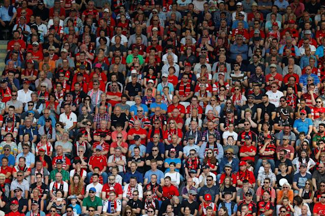 Soccer Football - Bundesliga - SC Freiburg v FC Augsburg - Schwarzwald-Stadion, Freiburg, Germany - May 12, 2018 SC Freiburg fans REUTERS/Kai Pfaffenbach DFL RULES TO LIMIT THE ONLINE USAGE DURING MATCH TIME TO 15 PICTURES PER GAME. IMAGE SEQUENCES TO SIMULATE VIDEO IS NOT ALLOWED AT ANY TIME. FOR FURTHER QUERIES PLEASE CONTACT DFL DIRECTLY AT + 49 69 650050