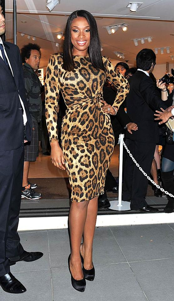 Welcome to the jungle! Stunningly slim Oscar winner Jennifer Hudson turned heads in a fierce Michael Kors frock and Ferragamo pumps at Saturday's Fashion Night Out soiree in Tokyo. Are you as big a fan of her ferocious outfit as we are? (11/5/11)