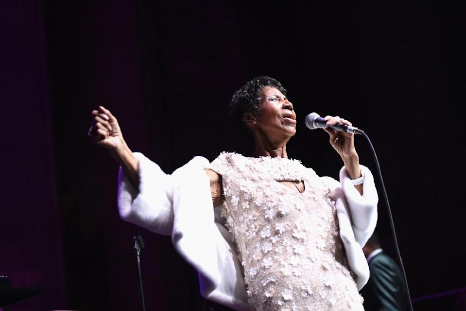 Aretha Franklin performs at the Elton John AIDS Foundation event in New York in November 2017. (Photo: Dimitrios Kambouris/AFP)