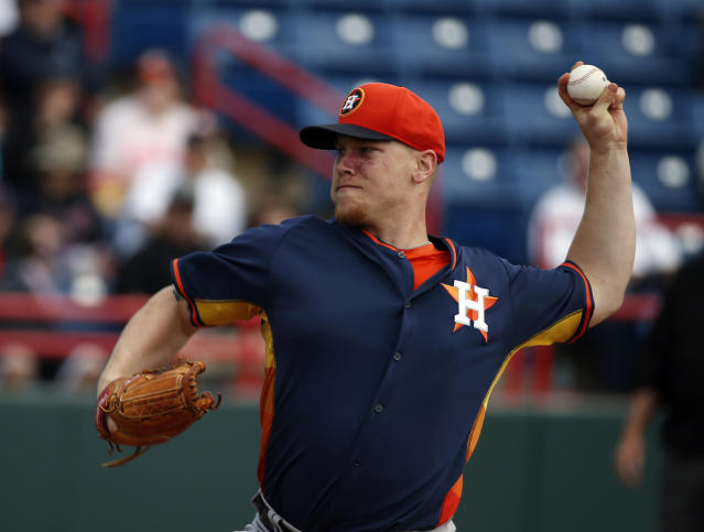 Houston Astros starting pitcher Brett Oberholtzer throws in the first inning of a spring exhibition baseball game against the Washington Nationals, Friday, March 7, 2014, in Viera, Fla. (AP Photo/Alex Brandon)