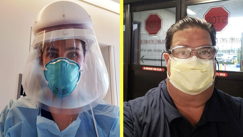 Grace Schafer and John DeWig, both wearing personal protective equipment, are combating the coronavirus epidemic on both coasts. (Photo: Courtesy of Grace Schafer and John DeWig)