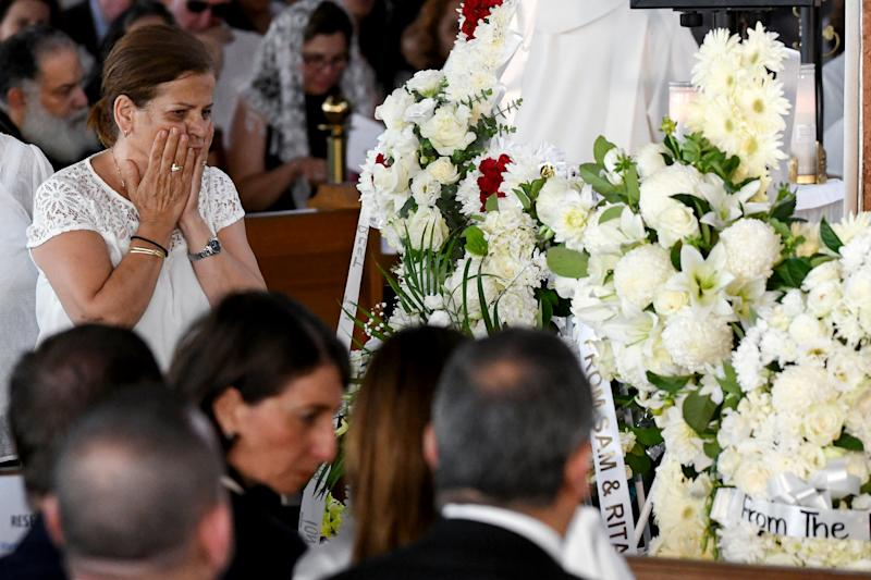 Georgette Abdallah is seen during the funeral for her grandchildren Antony Abdallah, 13, Angelina Abdallah, 12, and Sienna Abdallah, 8, at Our Lady of Lebanon Co-Cathedral in Sydney, Monday, February 10, 2020. The three siblings were run down and killed by an alleged drunk driver in Oatlands, in Sydney's west. (AAP Image/Bianca De Marchi) NO ARCHIVING