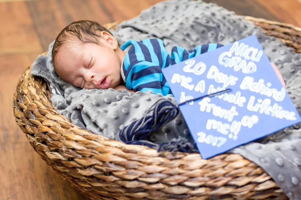 "<p>""NICU GRAD, 20 Days Behind Me, A Whole Lifetime In Front Of Me!! 2017""<em> (Photo via: <a rel=""nofollow noopener"" href=""https://www.bellababyphotography.com/"" target=""_blank"" data-ylk=""slk:Bella Baby Photography"" class=""link rapid-noclick-resp"">Bella Baby Photography</a>)</em> </p>"