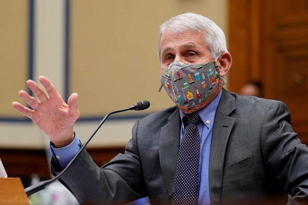 PHOTO: Dr. Anthony Fauci, director of the National Institute of Allergy and Infectious Diseases testifies during a House Select Subcommittee on the Coronavirus Crisis hearing on the Capitol Hill in Washington, April 15, 2021. (Pool/Reuters)