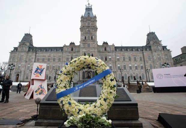 A ceremony for the victims of COVID-19 was held in Quebec City in March. The city is now one of several under a special lockdown because of the rapid rate of transmission.