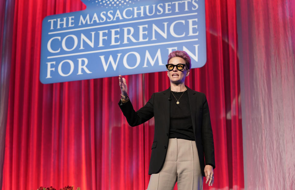 BOSTON, MASSACHUSETTS - DECEMBER 12: Two-time World Cup Champion, and co-captain of the US Women's National Team Megan Rapinoe speaks on stage during Massachusetts Conference For Women 2019 at Boston Convention Center on December 12, 2019 in Boston, Massachusetts. (Photo by Marla Aufmuth/Getty Images for Massachusetts Conference for Women 2019)