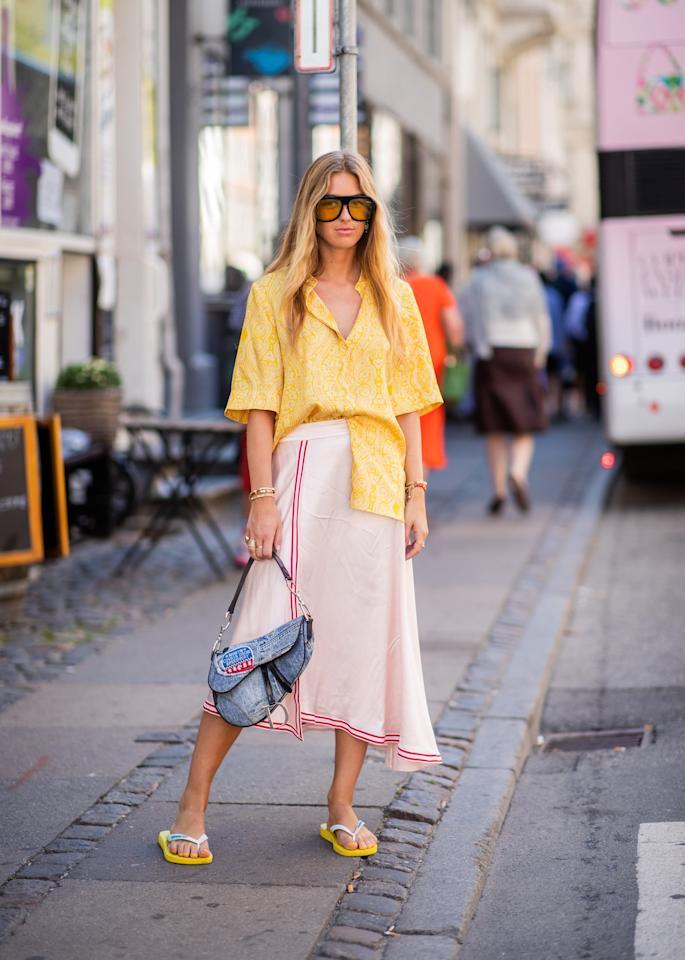 <p>Styling a yellow pair with a button-down top and matching skirt.</p>
