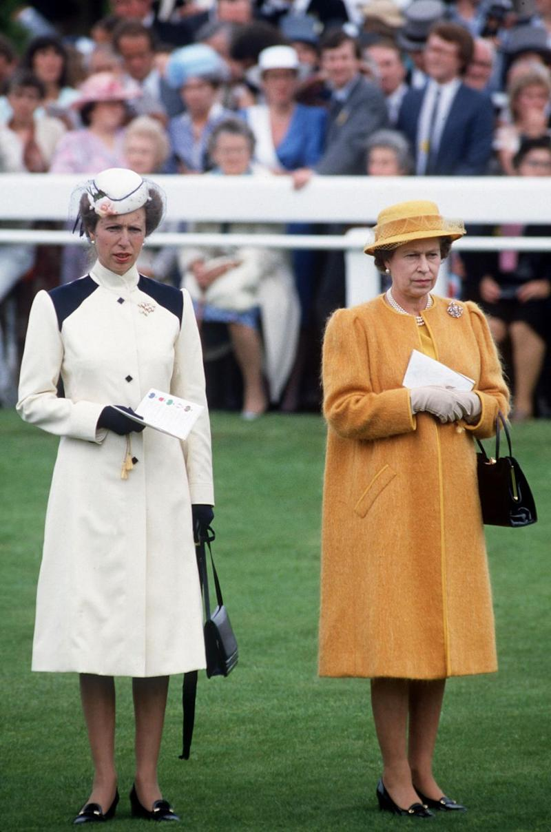 Five years later Princess Anne wore the same outfit to Royal Ascot again to step out with mum, Queen Elizabeth II. Photo: Getty