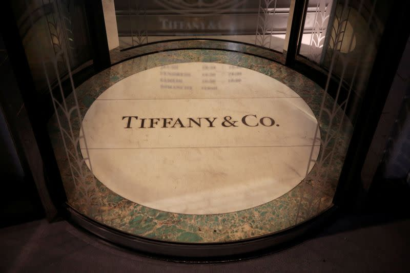 The logo of U.S. jeweller Tiffany & Co. is seen at a store in Nice