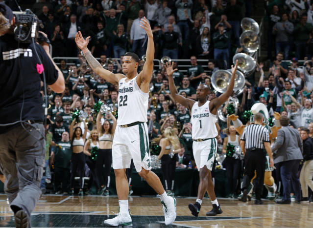 Michigan State edged Purdue on Saturday, but was it enough to elevate the Spartans to the top seed line? (AP Photo/Al Goldis)