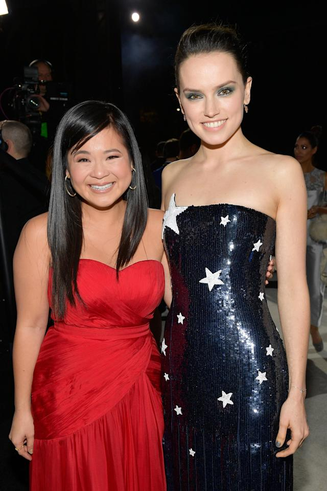 Kelly Marie Tran and Daisy Ridley at the premiere of <em>Star Wars: The Last Jedi</em> at The Shrine Auditorium on December 9, 2017 in Los Angeles, California. (Photo: Getty Images)