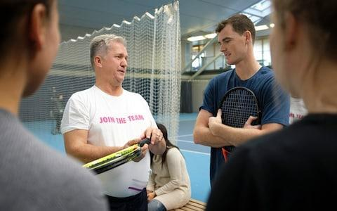 <span>Murray talks to his inspirational coach Louis Cayer</span> <span>Credit: Christopher Pledger </span>