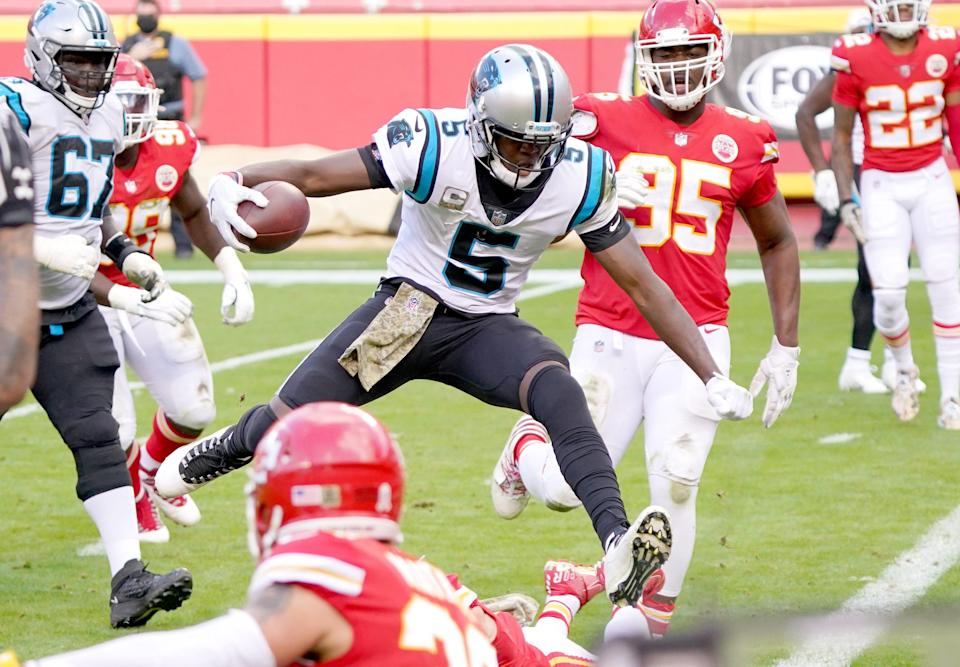 Carolina Panthers quarterback Teddy Bridgewater (5) scores a touchdown against the Kansas City Chiefs during the second half at Arrowhead Stadium.
