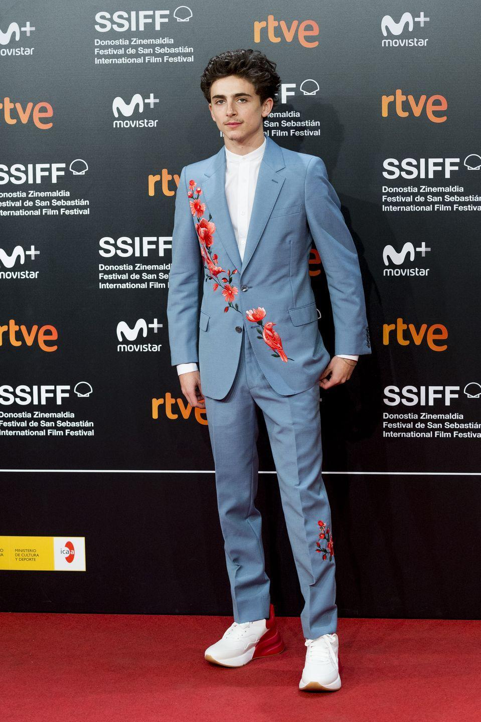 <p>How can you improve upon a well-cut, single-breasted suit? Easy. Have flowers and birds embroidered all over, and wear it with chunky sneakers and a barely-there, Twitterbait moustache.</p>