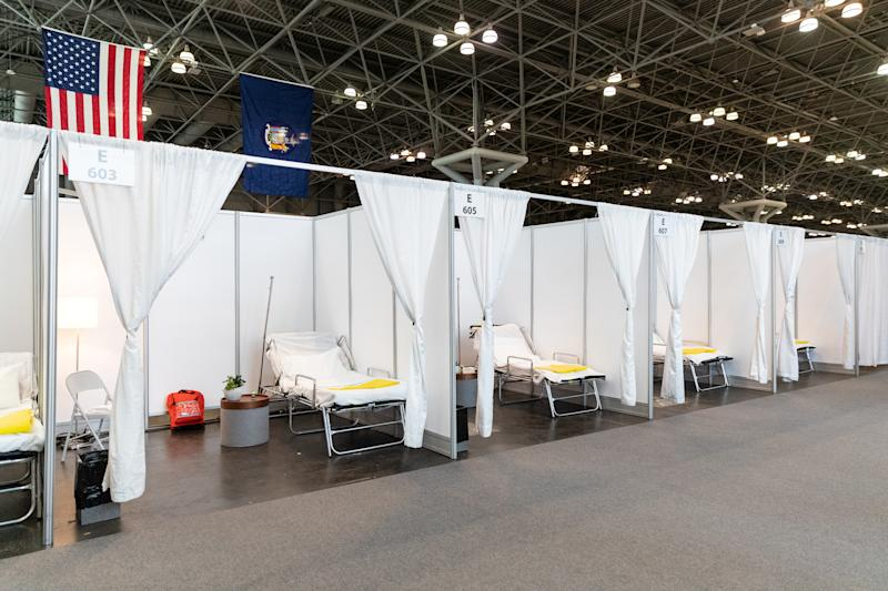 Improvised hospital rooms at the Javits Convention Center